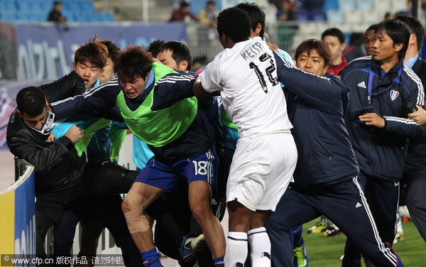A mass brawl broke out in the in the first leg of the Asian Champions League semifinal between Suwon Bluewings of South Korea and Qatari club al-Sadd on Wednesday, October 19, 2011.