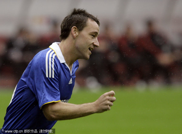 John Terry of Chelsea celebrates scoring a goal during the Russian Railways Cup match between Chelsea and Milan at the Lokomotiv Stadium on August 03, 2008 in Moscow, Russia.