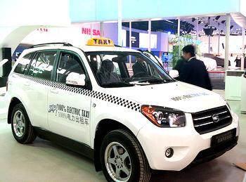 The ZAP electric taxi at the Beijing Motor Show, April 2010. [Evironment News Service]