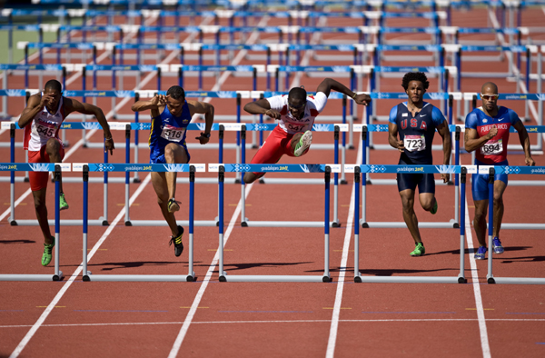 The men s 110m hurdles final competition during the pan american games
