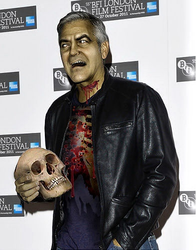 George Clooney trades his leading man looks for ... a skull. 乔治•克鲁尼凭借他这个男主角的长相换来了一个骷髅。