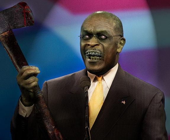 "Zombie Herman Cain has a '6-6-6 Plan.' ""僵尸""赫尔曼•凯恩提出了一个""6-6-6税收改革计划""。"