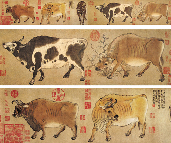 Five Oxen, one of the 'top 10 most famous Chinese paintings' by China.org.cn.