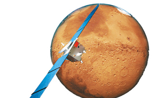 A simulated computer image of Yinghuo-1 and the Mars.[File photo/Xinhua]