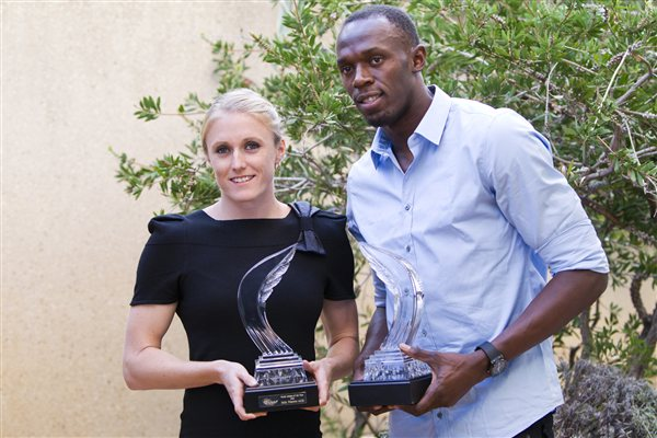 2011 World Athletes of the Year Sally Pearson and Usain Bolt. [Source: IAAF]