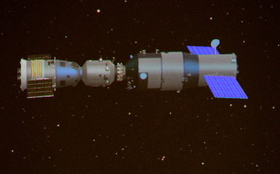 A simulated computer image of the spacecraft after Shenzhou 8 successfully docks with Tiangong 1.
