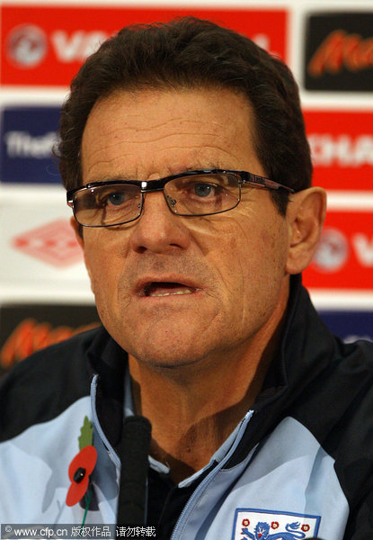 England's manager Fabio Capello during the press conference at Wembley Stadium, London.