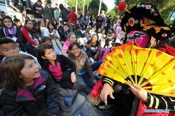 An artist performs Chinese opera during Chinese Culture Day Celebration at San Francisco State University in San Francisco, the United States, Nov. 14, 2011.