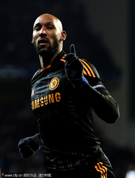 Nicolas Anelka of Chelsea celebrates scoring his team's second goal during the UEFA Champions League round of 16 first leg match between FC Copenhagen and Chelsea at Parken Stadium on February 22, 2011 in Copenhagen, Denmark.