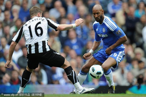 Nicolas Anelka is challenged by Ryan Taylor of Newcastle during the Barclays Premier League match between Chelsea and Newcastle United at Stamford Bridge on May 15, 2011 in London, England.