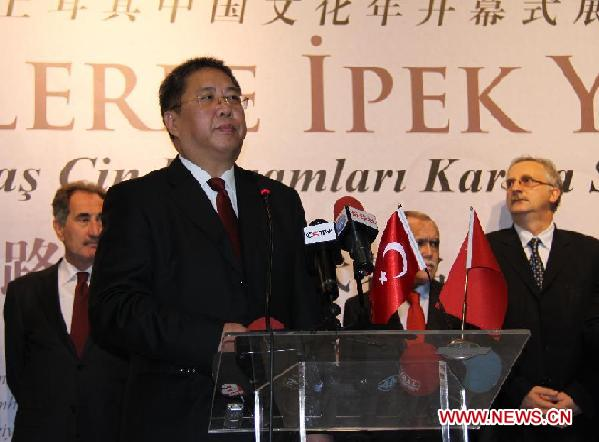 Chinese Ambassador to Turkey Gong Xiaosheng gives a speech at the opening of the '2012 China Culture Year' in Ankara, Turkey, Dec. 12, 2011.