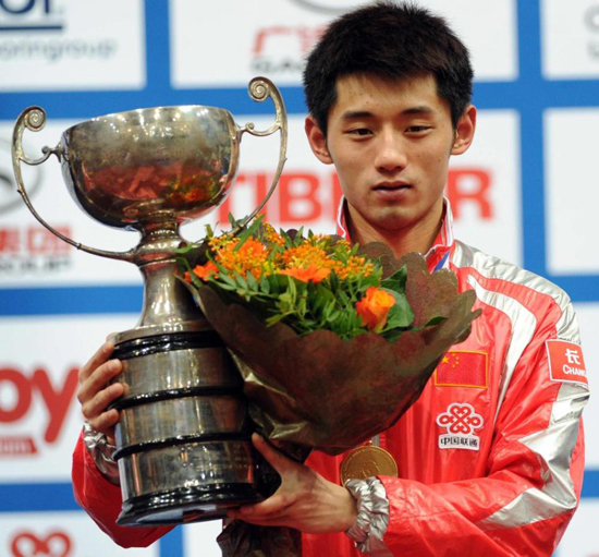 Zhang Jike beat Wang Hao to win  men's singles title at the GAC GROUP World Table Tennis Championships in Rotterdam on Sunday 15th May.[Source: Sina.com]