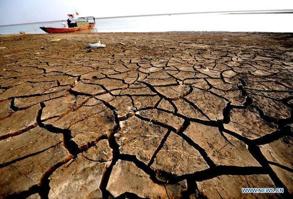 Photo taken on Jan. 6, 2012 shows the parched lakebed of the Yinshan Section of the Poyang Lake in Duchang County, east China's Jiangxi Province.