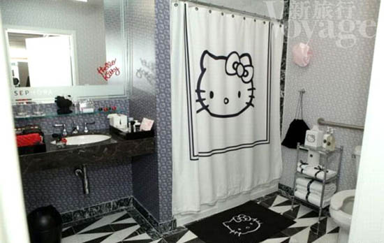 Hello Kitty Shower Curtain The Bathroom Is Equipped With Pattern Curtains And Floor Mat Photo Intended Inspiration Decorating