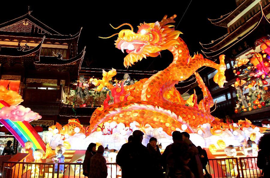 The photo taken on Jan. 17, 2012 shows a 60-meter-long dragon-shaped lantern in Yuyuan central square in Shanghai, east China. The lantern fair of Yuyuan, as one of the national intangible cultural heritages, will last from the first to the 18th day of the first lunar month.