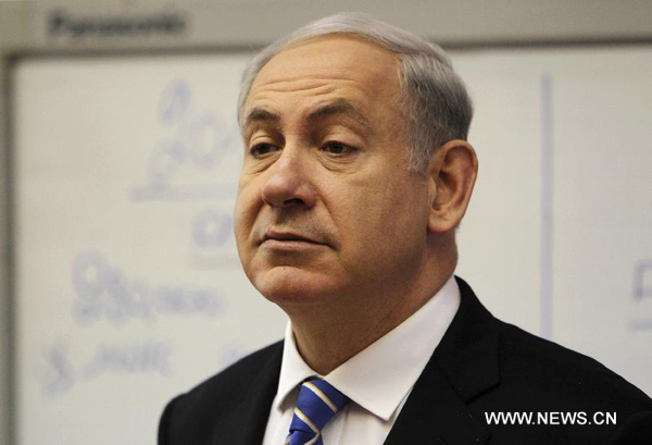 Israel's Prime Minister Benjamin Netanyahu speaks during Israeli weekly cabinet meeting in Jerusalem, Jan. 1, 2012. [Ronen Zvulun/Xinhua]