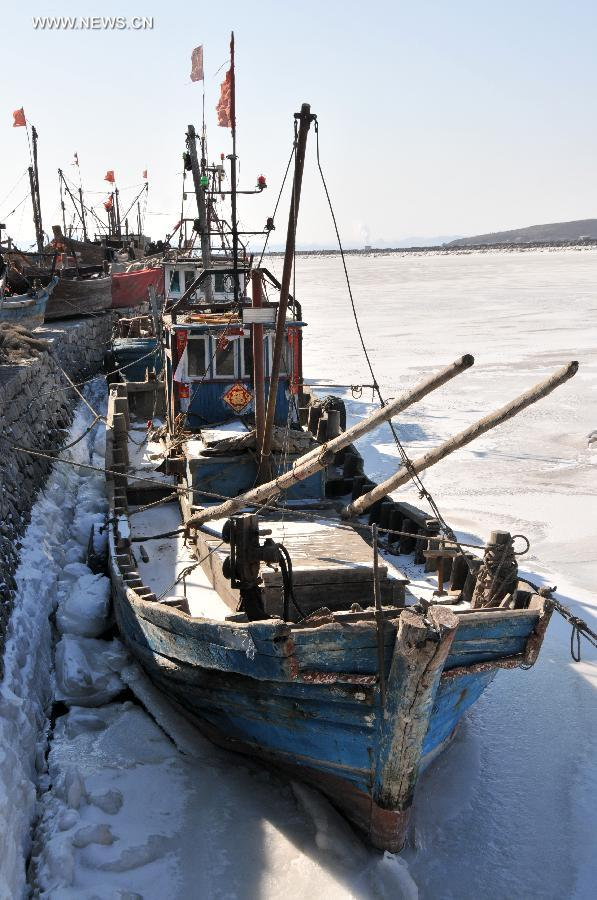 Fishing boats are frozen in ice on the Jinzhou Bay of Bohai Sea in Dalian, northeast China's Liaoning Province, Feb. 1, 2012. The National Marine Environmental Forecasting Center issued a sea ice blue alert recently. [Xinhua] 