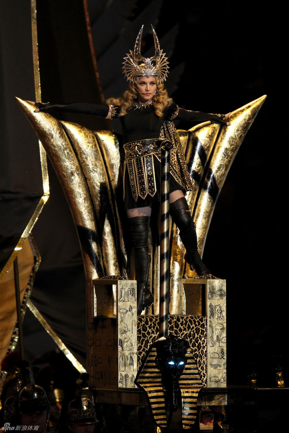 Madonna performs during halftime of the NFL Super Bowl XLVI football game between the New York Giants and the New England Patriots, Sunday, Feb. 5, 2012, in Indianapolis.