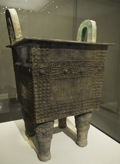 Bronze Ding (food container), Early Shang Dynasty (c. 16th-14th centuries BC), unearthed at Duling, Zhengzhou, Henan Province, 1974. It is exhibited in the section of Exhibition on life, production in Xia, Shang and Western Zhou Dynasties, an exhibition of Ancient China in the National Museum of China. [Photo by Xu Lin / China.org.cn]