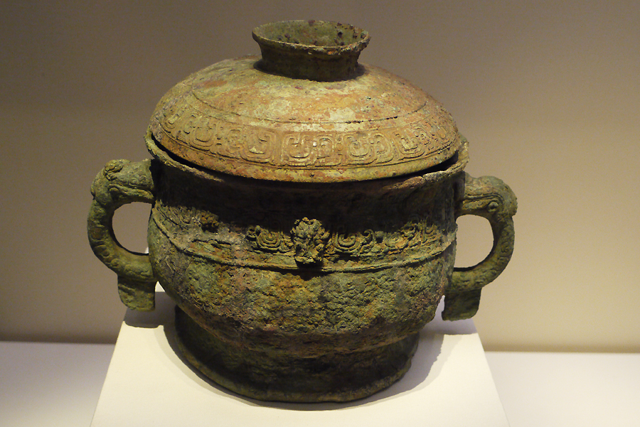 'Chang Si' Bronze Gui (food container), Western Zhou Dynasty (c. 11th century-771 BC), King Mu's reign, unearthed from tomb of Chang Si at Pudu, Chang'an, Shaanxi Province, 1954. It is exhibited in the section of Exhibition on life, production in Xia, Shang and Western Zhou Dynasties, an exhibition of Ancient China in the National Museum of China. [Photo by Xu Lin / China.org.cn]