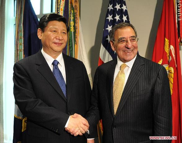 Chinese Vice President Xi Jinping (L) meets with U.S. Secretary of Defense Leon E. Panetta at the Pentagon in Washington, the United States, Feb. 14, 2012. [Liu Jiansheng/Xinhua]