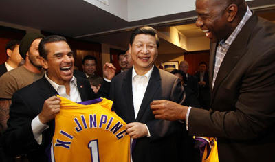 Chinese VP watches NBA basketball game in U.S.