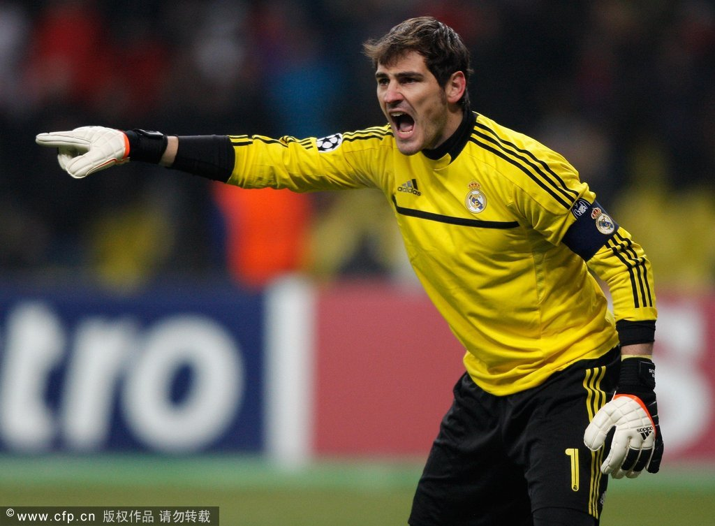 Real Madrid captain and goalkeeper Iker Casillas shouts instructions during the UEFA Champions League round of 16, first leg match between CSKA Moscow and Real Madrid at the Luzhniki Stadium on February 21, 2012 in Moscow, Russia.