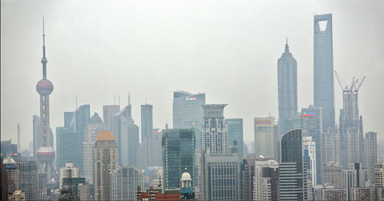 Highrises from both Puxi and Pudong are seen during overcast weather yesterday in Shanghai.