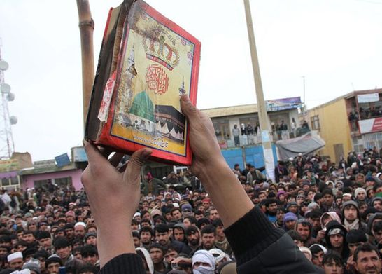 Thousands of Afghan people staged protest demonstration for the second day over a report that foreign soldiers improperly disposed and burned copies of the Muslim holy book Koran.