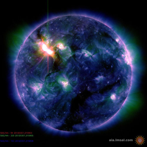 NASA handout image shows the Sun acquired by the Solar and Heliospheric Observatory on March 8, 2012. [NASA] 