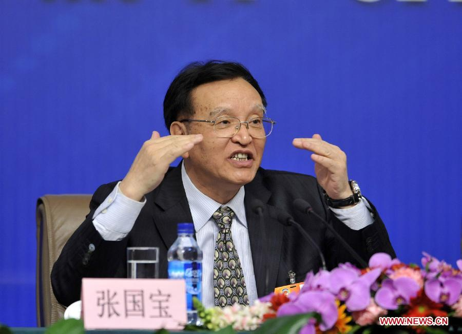 Zhang Guobao, a member of the 11th National Committee of the Chinese People's Political Consultative Conference (CPPCC), speaks during a news conference of the Fifth Session of the 11th CPPCC National Committee on the utilization of new energy and clean energy in Beijing, capital of China, March 10, 2012. (Xinhua/Wang Peng)