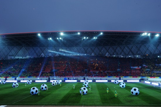 Opening ceremony of the new CSL season held in Guiyang Olympic Center in Guiyang, Guizhou Province, on Mar.11, 2012.