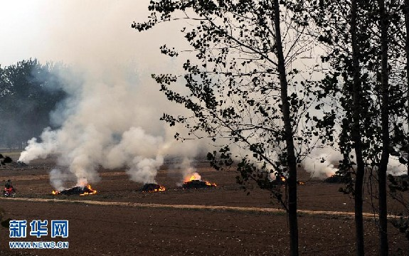 Air pollution is largely caused by the burning of straw in rural areas. [Xinhua]