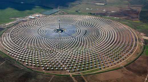 southern spain, has a central tower surrounded by 2,600 solar
