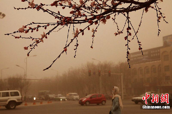 A sandstorm hits northwest China's Xinjiang area on Tuesday, March 20, 2012. [chinanews.com] 