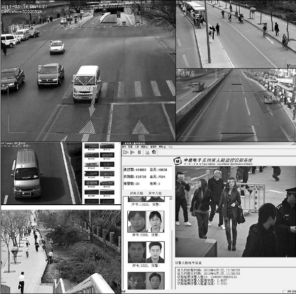 A composite of security camera image grabs produced using the Chinese SVAC standard developed by Vimicro International Corp. Chinese officials say security cameras play an important role in countering crimes and maintaining social stability. [China Daily]