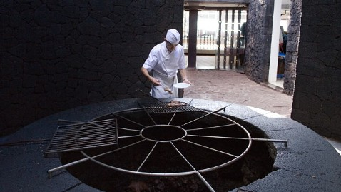 A restaurant in the Canary Islands serves food cooked by volcanic heat. [Agencies]