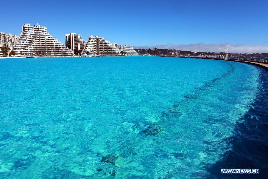 Largest Pool In Chile >> World S Largest Swimming Pool In Chile China Org Cn