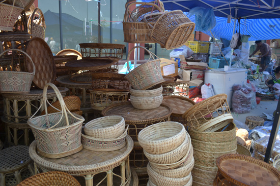Hand woven baskets from Laos at the 15th Annual Xishuangbanna Border Trade and Tourism Fair, Apr. 13 in Jinghong, Xishuangbanna Dai Autonomous Prefecture in Yunnan Province.