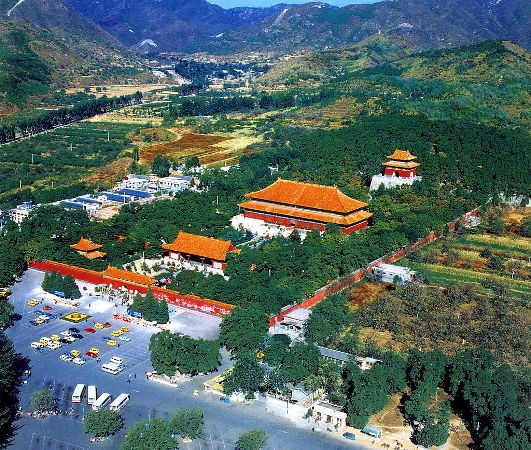The Ming Tombs are located on the southern hill of Tianshou Mountain. 
