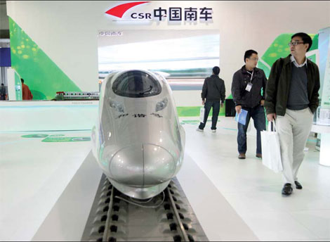 CSR products on display at the Beijing International Orbit Transportation Operation and Equipment Exhibition on Nov 1, 2011. [China Daily]
