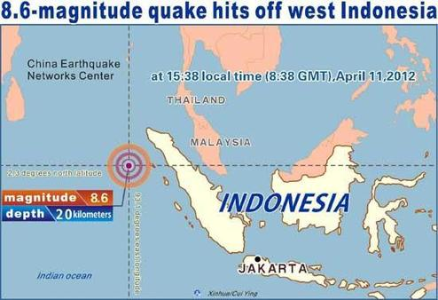 Graphics shows an earthquake measuring 8.6 on the Richter scale jolted off the west coast of Indonesia at 15:38 local time (8:38 GMT), April 11, 2012.