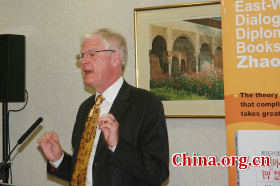 University of Liverpool's Michael Hoey speaks during the book launch on April 17, 2012.