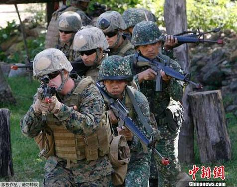 About 4,500 US Marines trained with their Philippine counterparts on Thursday as part of an annual joint military drill between the two countries.