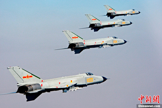 China's F8 fighters will participtate in the China-Russia joint naval drill.