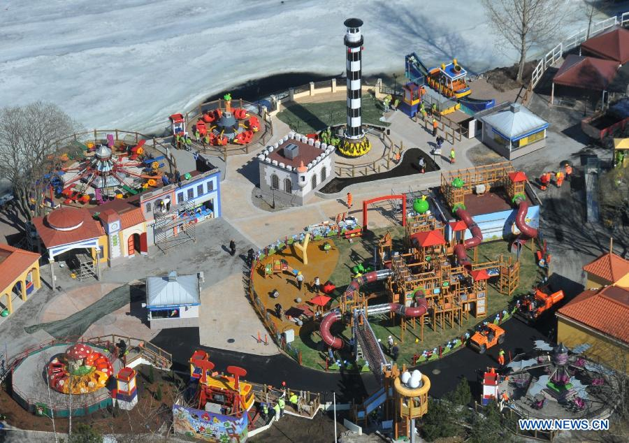 Photo taken on April 25, 2012 shows the general view of the Angry Birds Land built in Sarkanniemi Adventure Park, Tampere, Finland. The Angry Birds Land in Sarkanniemi Adventure Park began to be built in the winter of 2011 and will be open to the public on April 28, 2012.