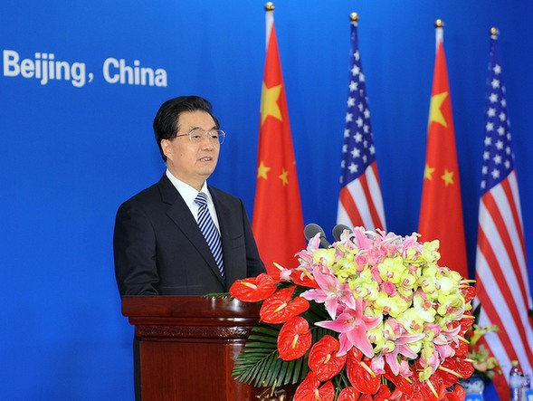 Chinese President Hu Jintao addresses the opening session of the fourth round of the China-U.S. Strategic and Economic Dialogue in Beijing, capital of China, May 3, 2012. [Xinhua]