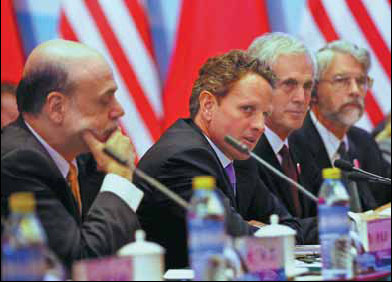 US Treasury Secretary Tim Geithner takes part in the economic talks of the fourth round of the China-US Strategic and Economic Dialogue on Thursday. [China Daily]