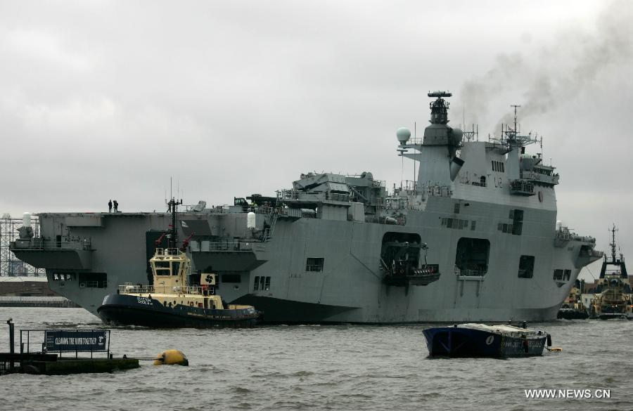 British warship HMS Ocean exercises for Olympics