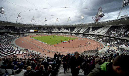 A general view of the Olympic Stadium in London. More than 40,000 spectators watched as a cascade of white balloons was released to officially open London's Olympic stadium on Saturday, exactly 2,012 hours before the Games begin.
